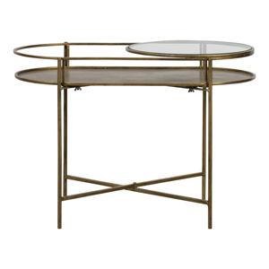 Skleněný odkládací stolek s podnožím ve zlaté barvě BePureHome