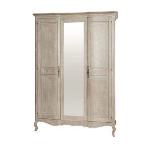Béžová šatní skříň z březového dřeva se zrcadlem Livin Hill Venezia