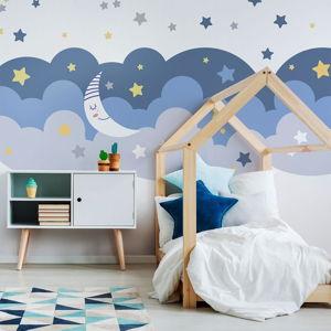Nástěnná samolepka Ambiance Scandinavian Clouds With Stars And Moon