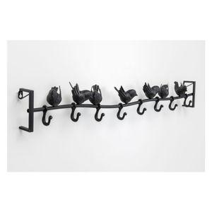 Černý kovový nástěnný věšák Kare Design Birds, šířka92cm