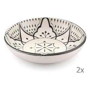 Sada 2 krémových porcelánových misek s černým ornamentem Mia Maroc, ⌀ 13 cm