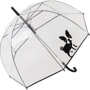 Transparentní větruodolný holový deštník Ambiance French Bulldog, ⌀84cm