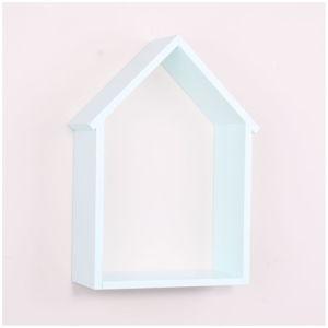 Bleděmodrá dřevěná nástěnná polička North Carolina Scandinavian Home Decors House