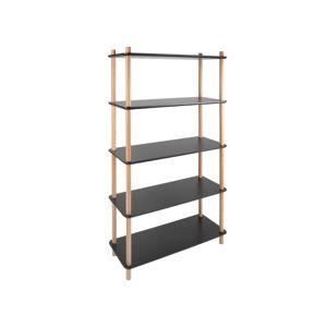 Černý regál s bambusovými nohami Leitmotiv Cabinet Simplicity