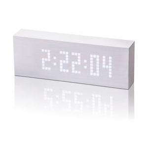 Bílý budík s bílým LED displejem Gingko Message Click Clock