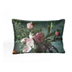 Zelený sametový polštář s květinovým vzorem Velvet Atelier Bodegon,50x35cm