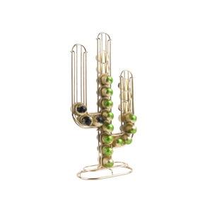 Stojan na 48 kávových kapslí ve zlaté barvě Present Time Cactus