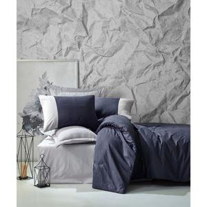 Tmavě modré bavlněné povlečení s prostěradlem Cotton Box Plain, 200 x 220 cm