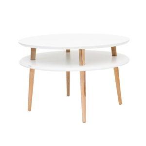 Bílý konferenční stolek s přírodními nohami Ragaba UFO, Ø70cm