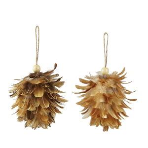 Sada 2 vánočních závěsných dekorací z peří Villa Collection Feathers