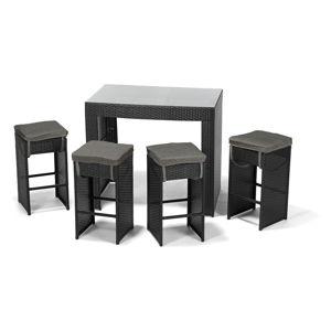 Barový set ratanového nábytku nábytku na zahradu v černé barvě Timpana Siesta Coctail