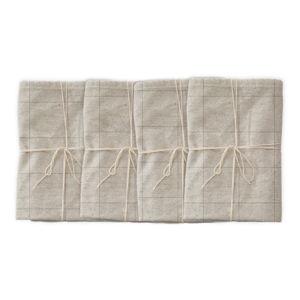 Sada 4 látkových ubrousků s příměsí lnu Linen Couture Grey Lines, 43 x 43 cm