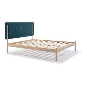 Dřevěná postel s tyrkysově modrým čelem Marckeric Annie,140x200cm
