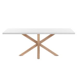 Bílý jídelní stůl s přírodním podnožím La Forma Arya, délka 160cm