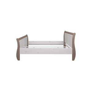Mléčně bíle lakovaná dvoulůžková postel z borovicového dřeva s hnědým rámem Steens Monaco, 180x200cm