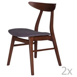 Sada 2 jídelních židlí z kaučukovníkového dřeva s tmavě šedým podsedákem sømcasa Salma