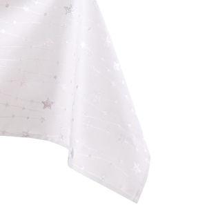 Bílý ubrus se stříbrným vánočním motivem AmeliaHome Stardust, 140 x 220 cm