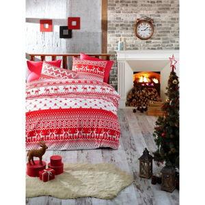 Povlečení s prostěradlem na jednolůžko z ranforce bavlny Nazenin Home Winter Red, 140 x 200 cm