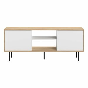 Televizní stolek s bílými dvířky a černými nohami TemaHome Attitude