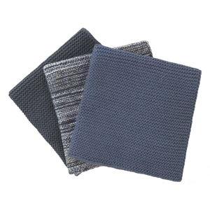 Sada 3 modrých pletených bavlněných utěrek na nádobí Blomus, 25x25cm