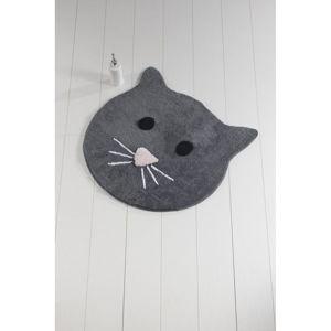Antracitová koupelnová předložka Cat, ⌀ 90 cm