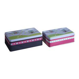 Sada 2 cínových úložných boxů Premier Housewares Happy Owls, 13 x 20 cm