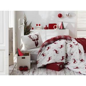 Povlečení s prostěradlem s příměsí bavlny na jednolůžko Eponj Home Geyik Claret Red, 160 x 220 cm