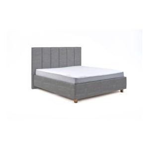 Světle modrá dvoulůžková postel s úložným prostorem ProSpánek Wega, 160 x 200 cm