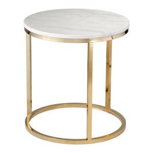 Bílý mramorový stolek s podnožím ve zlaté barvě RGE Accent, ⌀ 50 cm