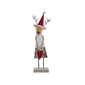 Dekorativní vánoční dřevěná soška Ego Dekor Reindeer, výška 32,5 cm