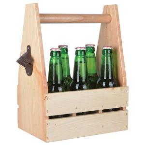 Dřevěná přenoska na lahve s otvírákem Ego Dekor