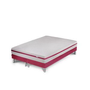 Růžová postel s matrací a dvojitým boxspringem Stella Cadente Maison Pluton, 180 x 200 cm