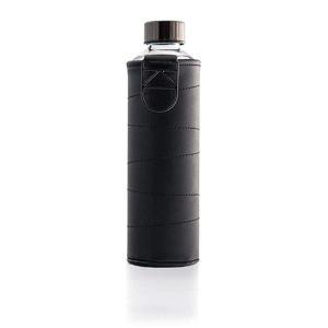 Grafitově šedá skleněná láhev z borosilikátového skla s obalem z umělé kůže Equa Mismatch,750ml