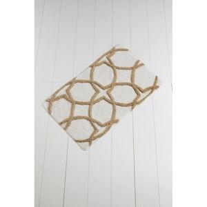 Hnědo-bílá koupelnová předložka Waves Hexagon, 100 x 60 cm