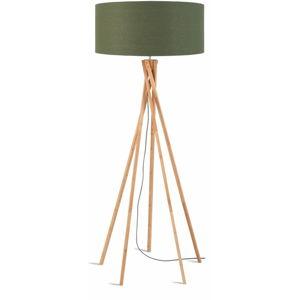 Stojací lampa se zeleným stínidlem a konstrukcí z bambusu Good&Mojo Kilimanjaro
