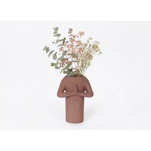 Hnědá keramická váza DOIY Namaste, výška 20 cm