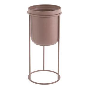 Světle růžový kovový stojací květináč PT LIVING Tub, výška27cm