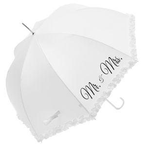 Bílý svatební holový deštník Ambiance Mr&Mrs, ⌀90cm