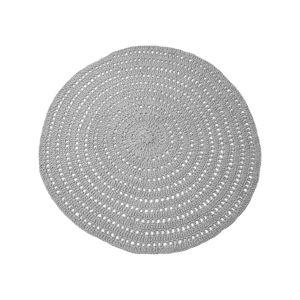 Šedý kruhový bavlněný koberec LABEL51 Knitted, ⌀150cm