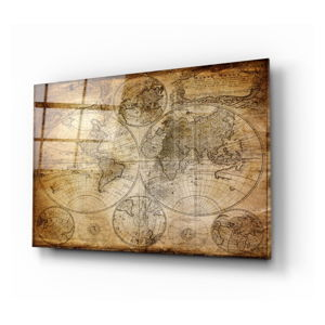 Skleněný obraz Insigne World Map, 110 x 70 cm
