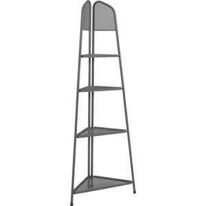 Tmavě šedá kovová rohová police nabalkon ADDU MWH, výška 180cm