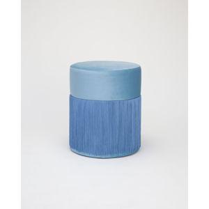 Modrý puf se sametovým potahem Velvet Atelier, ø36cm
