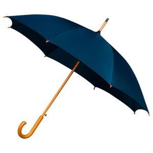 Modrý deštník sdřevěným madlem Ambiance Wooden, ⌀102cm