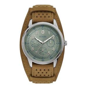 Pánské hodinky s páskem z ušlechtilé kůže v hnědé barvě Guess W1243G1