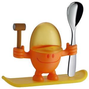 Žluto-oranžový stojánek na vajíčko s lžičkou WMF Cromargan® Mc Egg