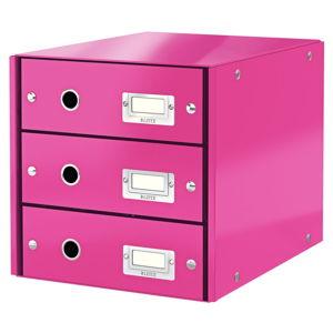Růžový box se 3 zásuvkami Leitz Office, 36 x 29 x 28 cm