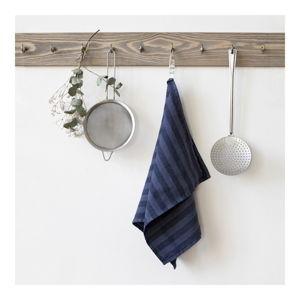 Tmavě modrá lněná utěrka Linen Tales Stripe, 65x45cm