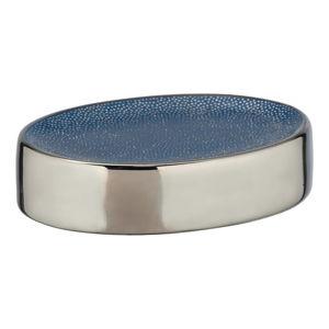 Modrá keramická mýdlenka s detailem ve stříbrné barvě Wenko Badi