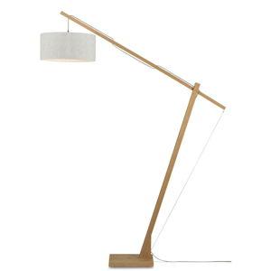 Stojací lampa se světle béžovým stínidlem a konstrukcí z bambusu Good&Mojo Montblanc