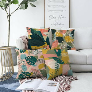 Sada 4 povlaků na polštáře Minimalist Cushion Covers Colorful Leaves, 55 x 55 cm